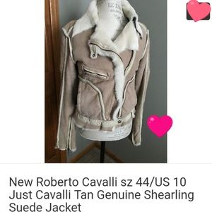 New suede Just Cavalli beige Shearling jacket sz10